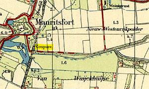 Kaart met de coupure Nieuw-Westenrijkpolder