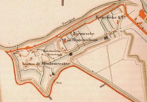 Kaart met de ligging van de Zeeuwse oesterbedrijven in Bergen op Zoom